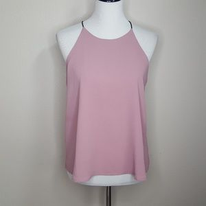 Papermoon Pink Textured Chiffon Scoop Neck Top